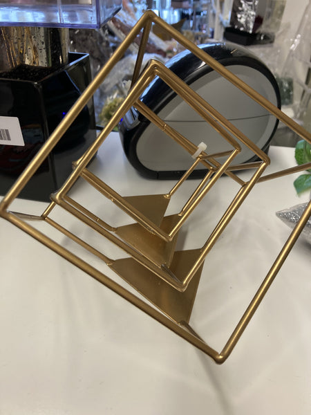 "Cube Stand Gold set of 3 Geometric 5"" 3.5"" and 3"""
