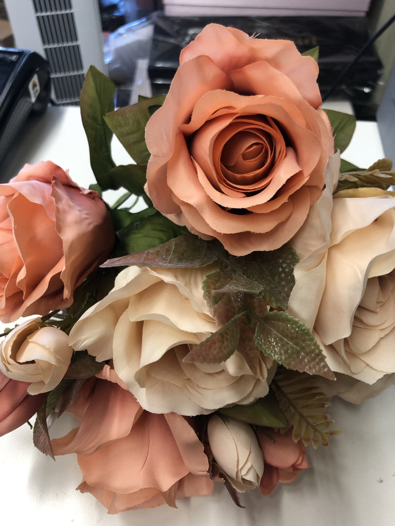 New fall color burnt orange Rose bunch Artificial Flower