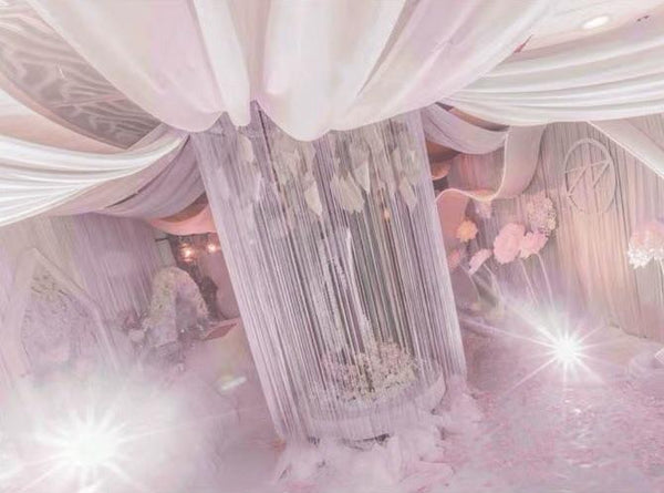 3mx1m (w)Silver hanging string curtain ceiling decor - Viva La Rosa