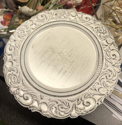White Vintage Charger Plate Acrylic Flower pattern 14""