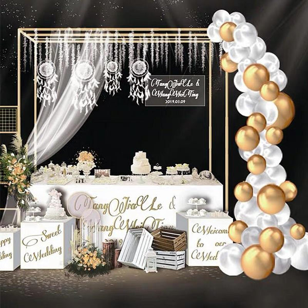 Metal Rectangular backdrop stand Gold 1.6mx1.5m(-2.8m)H