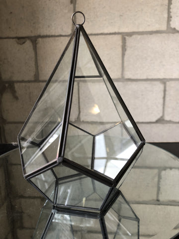 "9.5"" X 6.3""D Diamond Shaped geometric terrarium Black - Richview Glass Wedding Supplies"
