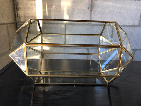"GOLD GEOMETRIC 13""x7.5"" PLANTER GLASS BALL TERRARIUM VASE money box"