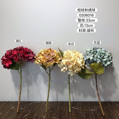 Artificial Flower Chocolate Hydrangea Spray Single Stem