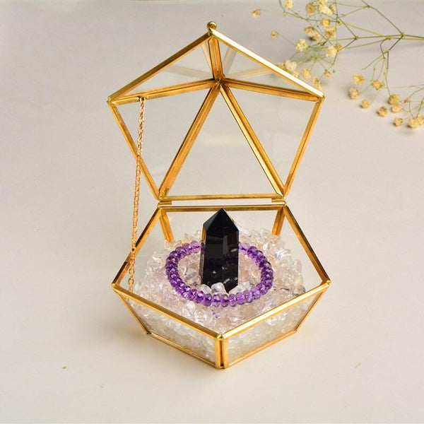 Gold Geometric Pentagon Ring Box with lid Jewelry Box 4.7""