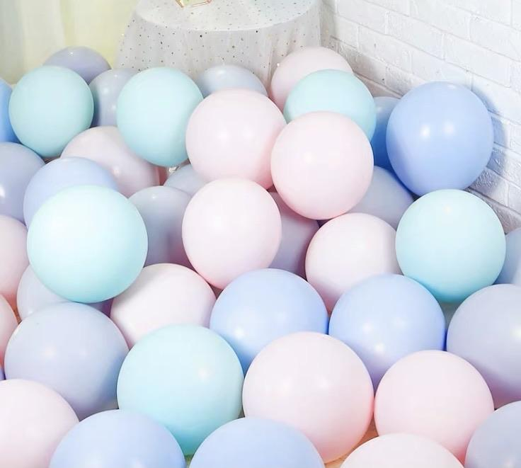 Mint blue pink purple 100 pcs Mix Pastel color double layer balloon baby shower
