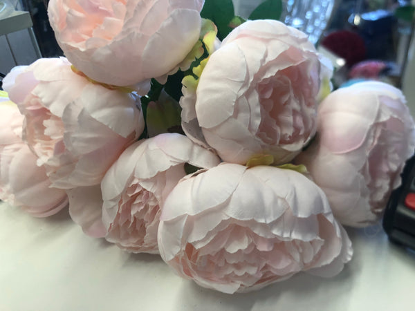 7 HEAD FABRIC ARTIFICIAL PEONIES BLUSH BUNCH Peony