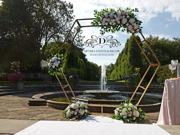 White hexagon metal Backdrop Stand Arch 2.6m/8.5 feet