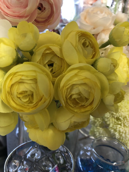 yellow 6xRanunculus bunch artificial wedding decor m