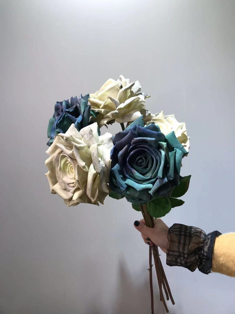 Giant Large Peacock Blue Rose Artificial Flower Single Stem