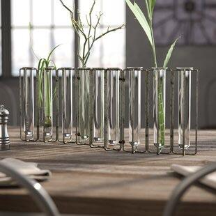 Tube Metal Geometric Planter Glass set