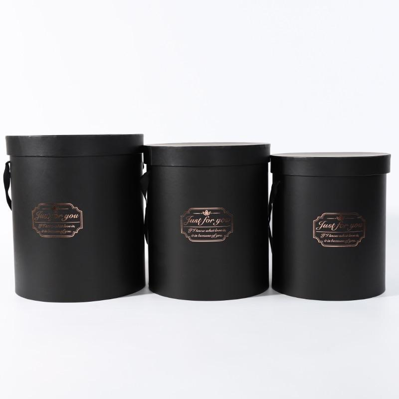 Set of 3 round black Cardboard Flower box