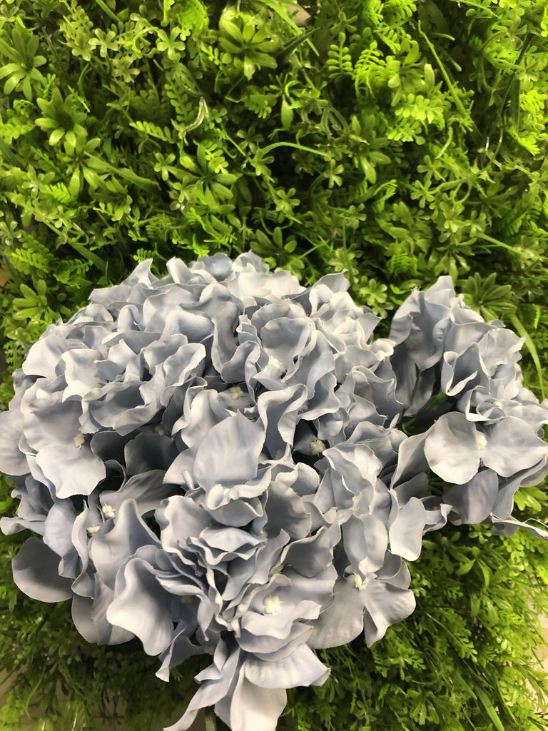 Artificial Flower Dusty Blue Hydrangea Bunch 6 head silk - Richview Glass Wedding Supplies