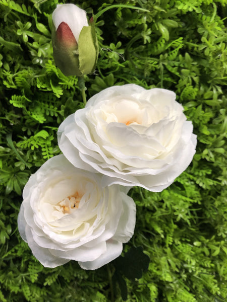 New 2+1 head Cream Puffy Rose Spray artificial flower