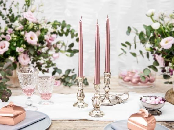 "Pack of 12 PCs Rose Gold taper Candles wedding decor 10"" long"