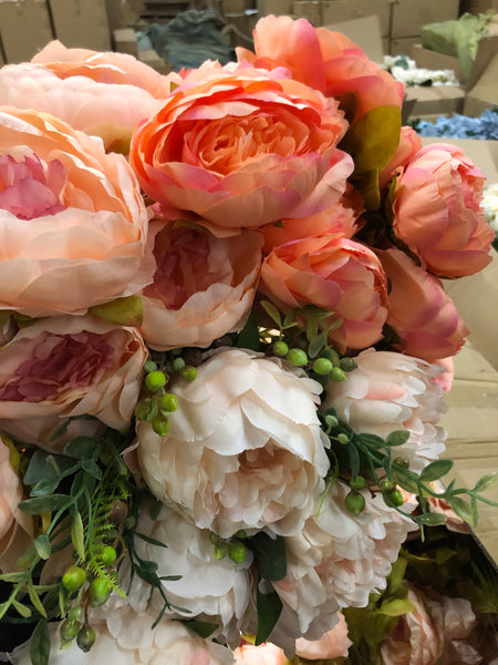 Salmon with pink center ARTIFICIAL PEONIES PEONY BUNCH