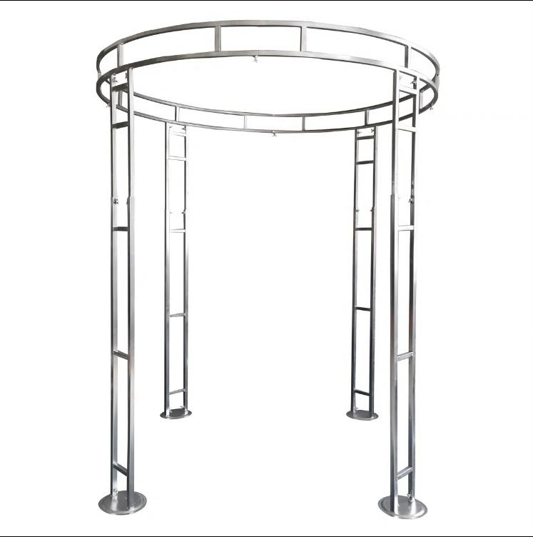 Silver Metal mandap canopy chuppah adjustable stand 6.5'Dx6-9'H