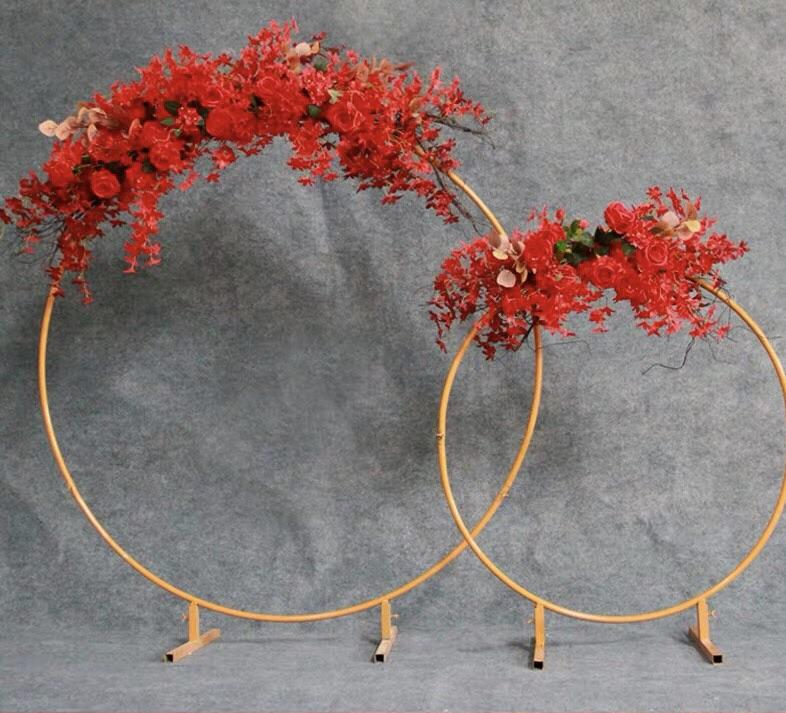 "Gold metal backdrop Stand Single hoop Round 60""h"