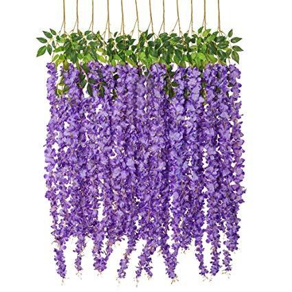 Purple hanging wisteria FLOWER LONG GARLAND WISTERIA
