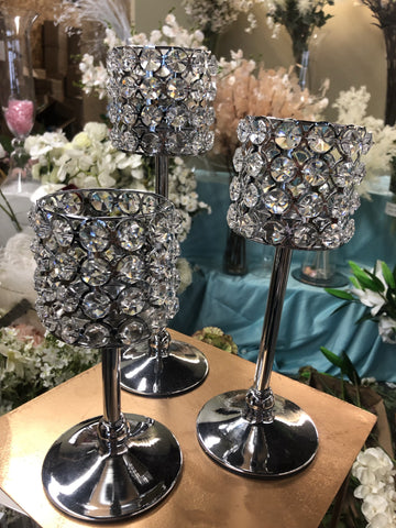 set of 3 crystal vase candleholder wedding centerpiece