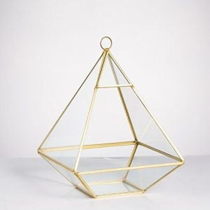 "GEOMETRIC 8"" PLANTER GLASS PYRAMID TERRARIUM VASE (Gold) triangle"