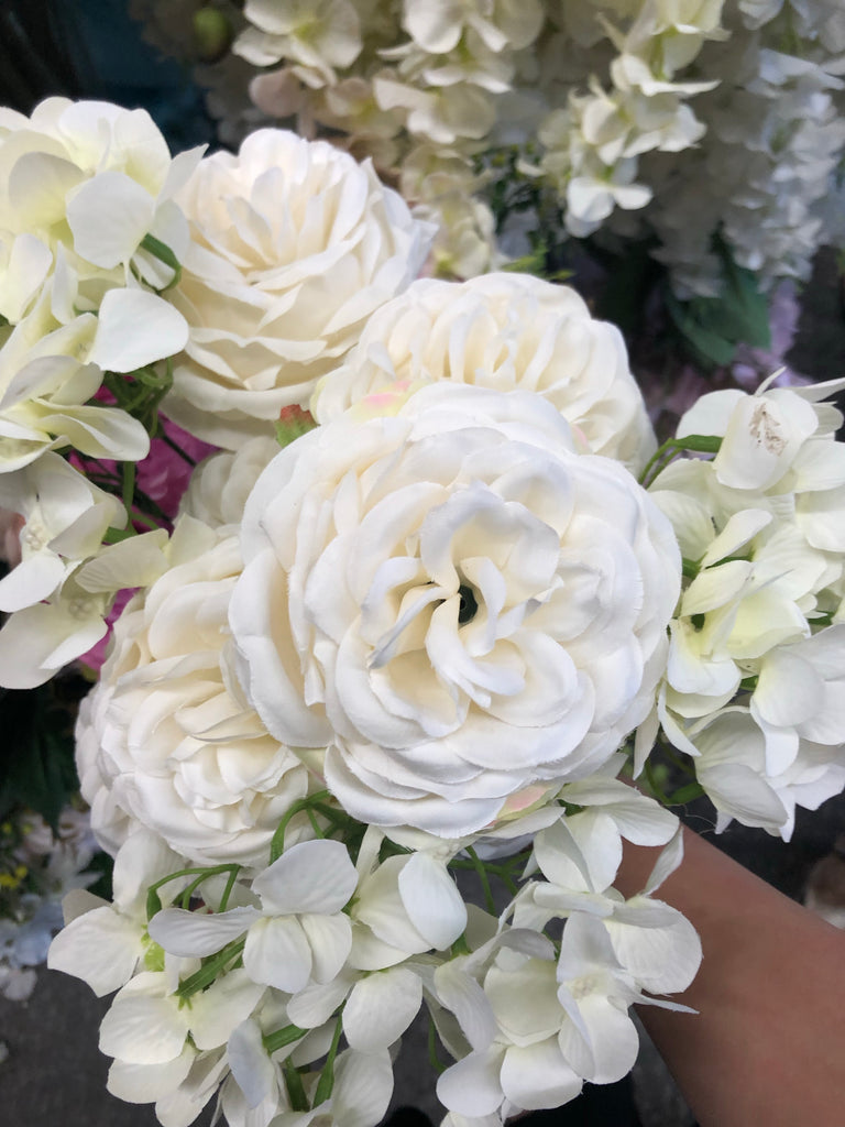 New cream puffy Roses with filler Artificial Flower