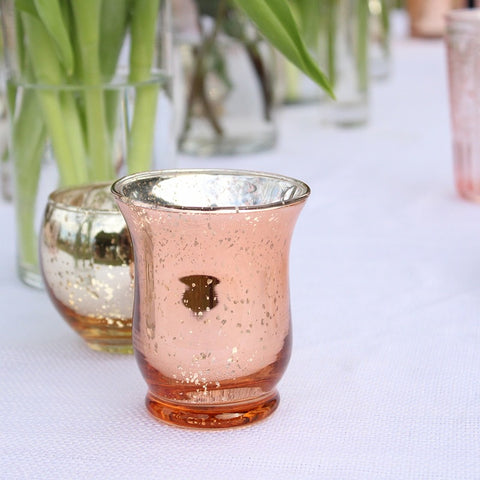 "MERCURY Rose GOLD HURRICANE VASE 3""x3"" H"