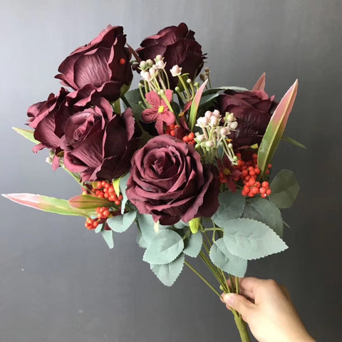 New Burgundy Rose with filler Artificial flower
