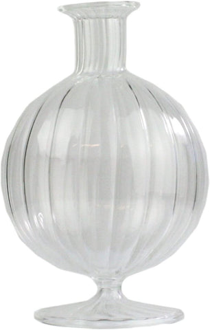 "Ribbed scallop bud Vase 5"" tall Round ball ripple vase"
