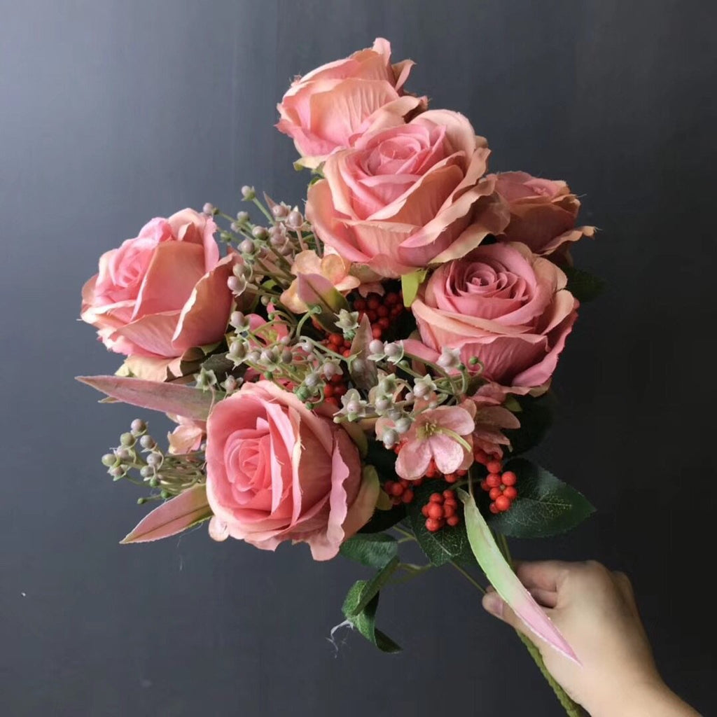 Coral ROSE BUNCH With fillers