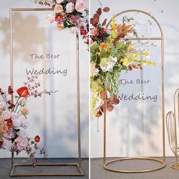 Round top Gold Metal Backdrop/sign Stand