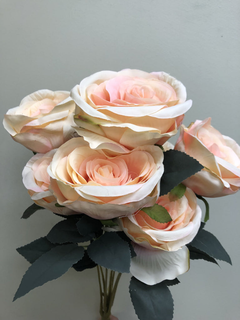Jumbo Rose Artificial Flower Vintage Rustic style 7 heads -peach