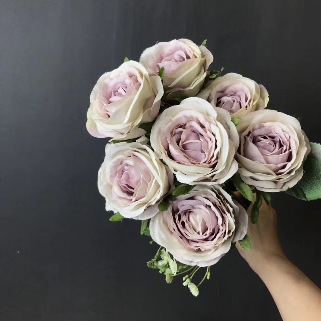 Lilac 9 head Mini rose Bunch small rose