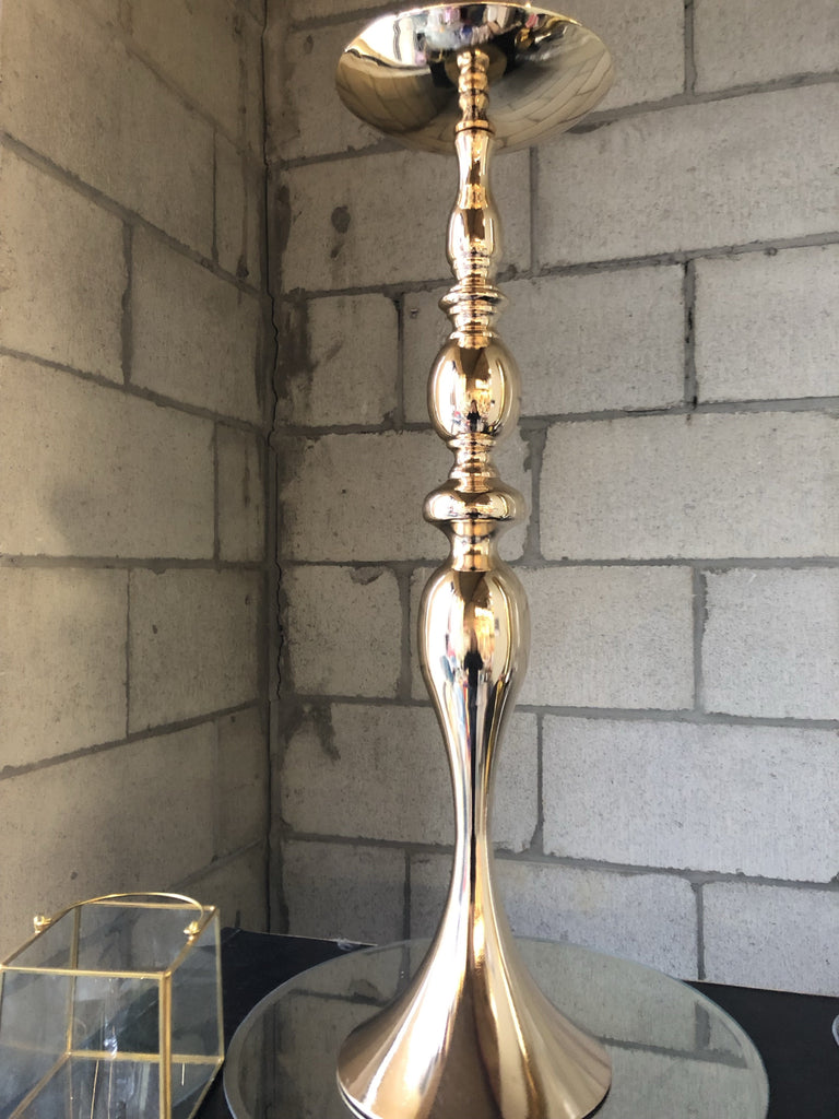 "GOLD 25"" METAL CANDLE HOLDER DECOR CANDLEHOLDER stick"
