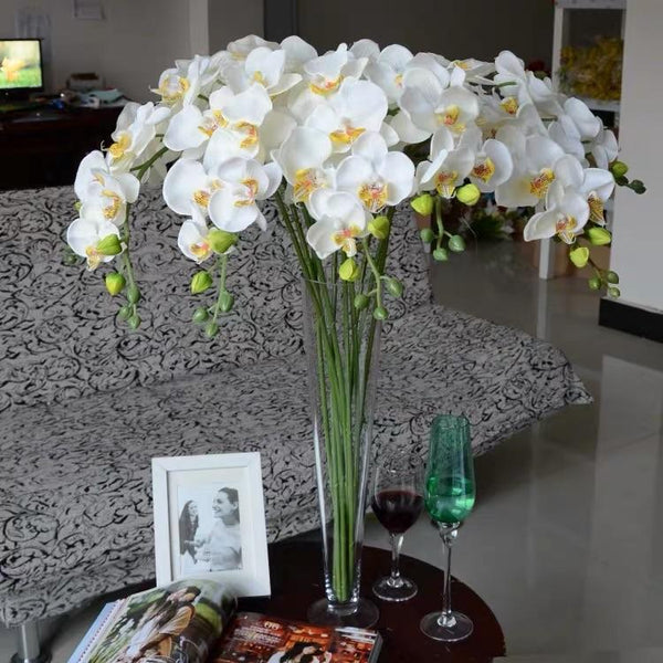 Artificial Flower phalaenopsis small orchids silk flower white