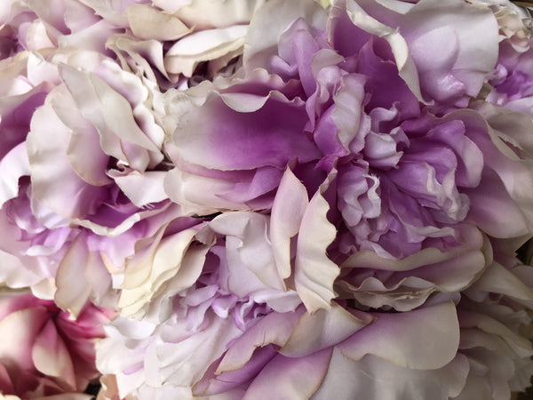 7 HEAD Purple and White FABRIC PEONY BUNCH ARTIFICIAL PEONIES - Viva La Rosa