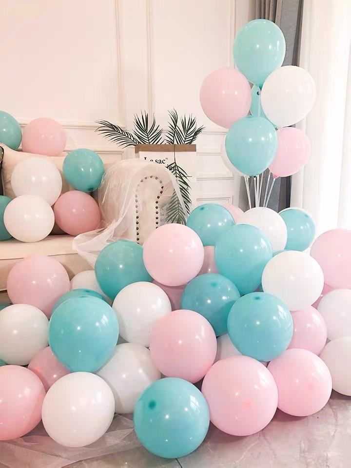 100 pcs Mint and pink color single layer balloon baby shower