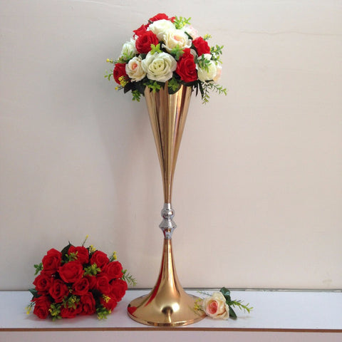 "Gold metal 28"" reversible trumpet vase"