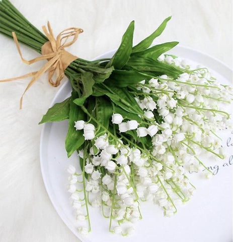 7xlily of the valley white wedding greenery filler for corsage