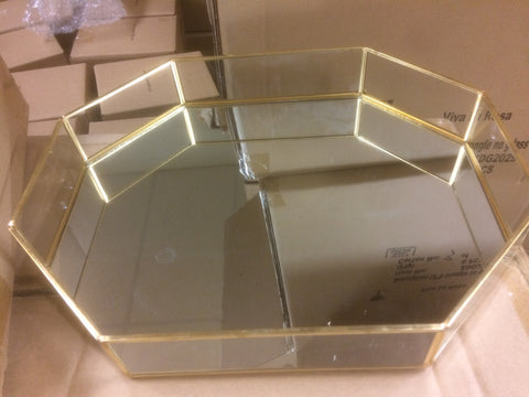 "Nordic style gold 10"" mirror bottom plate octagon"