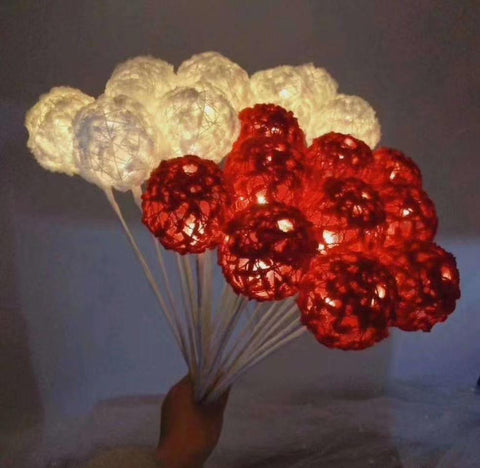 LED Ball LIGHT on a Stick 11 red balls Bouquet decor