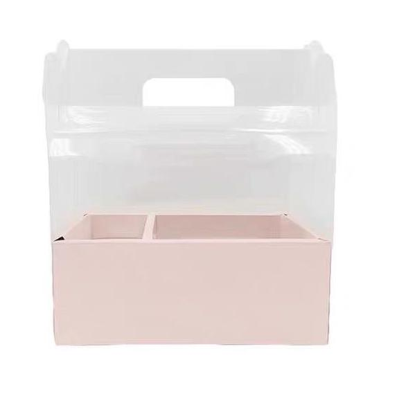 Clear top Cardboard Flower box pink