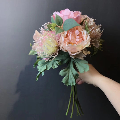 Hand tied silk arranged Flower Bridal Bouquet Jumbo Size pink
