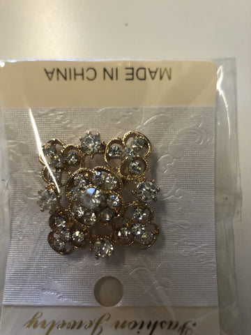 "Small Diamond Brooch decoration 1.5"" diameter gold"
