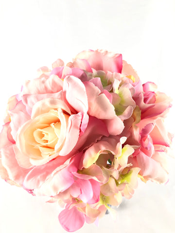 Silk Flower Bridal Bouquet Jumbo Size (Pink)-3616168F-1