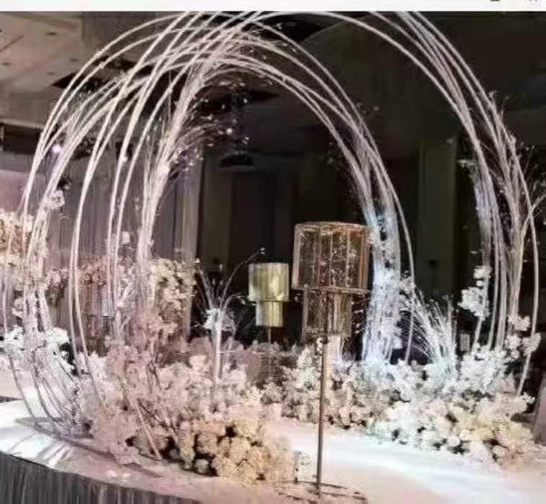 White arch Backdrop Stand criss cross hoop Round 2 meter