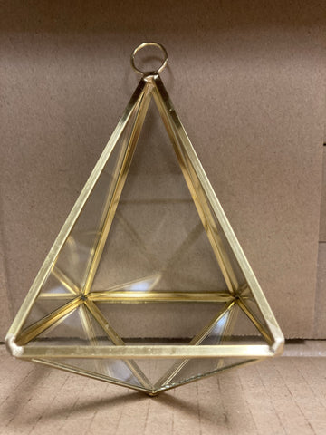 "Triangle Gold with glass Geometric 5.5"" metal hanging"