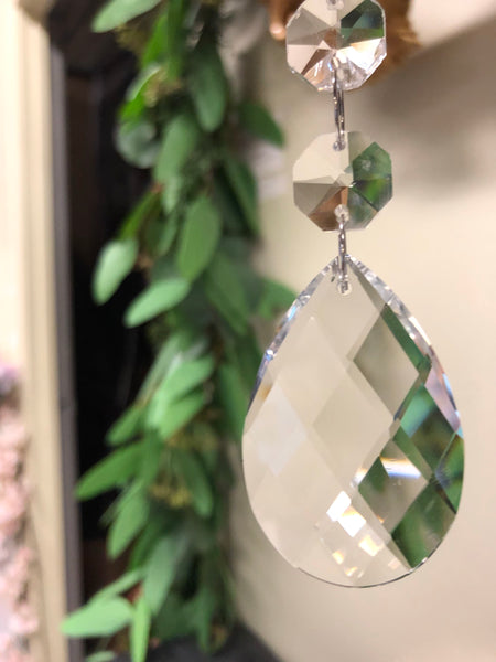 "6"" large crystal Tear Drop Pendant - Viva La Rosa"