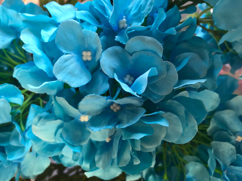 Artificial Flower Turquoise Hydrangea Bunch 7 head silk - Viva La Rosa