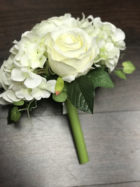Silk Flower Bouquet Regular Size (White)-SIL1-2